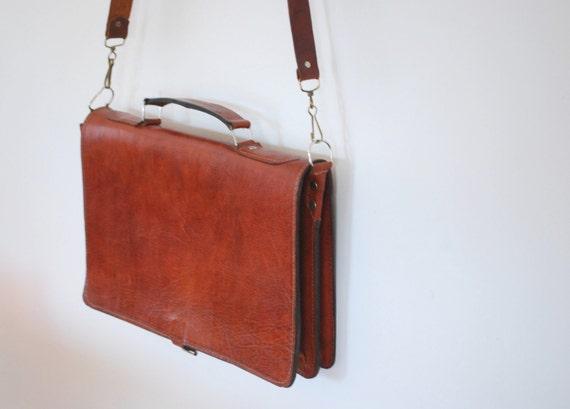 Vintage Schoolboy Leather Messenger Bag