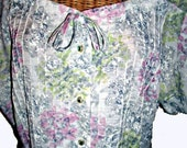 Vintage 40s Floral Dress,44 Bust, Rhinestone Buttons