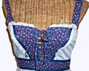 70s Vintage Corset Style Gunne Sax Maxi Dress, Small
