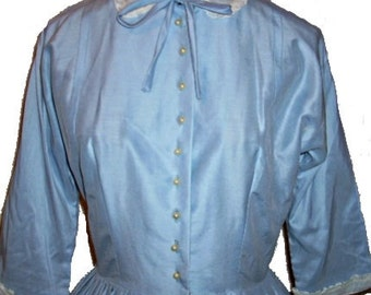 40s, 50s Vintage Light Blue Full Day Dress, Small