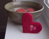 Love Button Felted Heart Brooch in Ruby Red