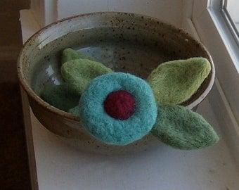 Felted Brooch Wedding Boutonniere Aqua Blue Circle Bloom Flower