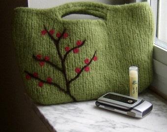 Felted Handbag Purse Berry Branch Wool Clutch