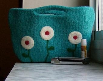 Felted Purse Aqua Poppy Clutch - Made to Order