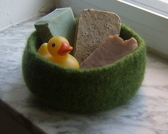 Moss Felted Treasure Bowl