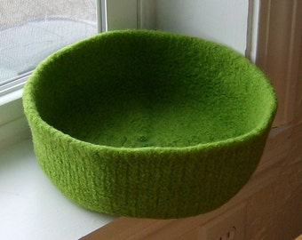Lime Felted Treasure Bowl Double-Wide