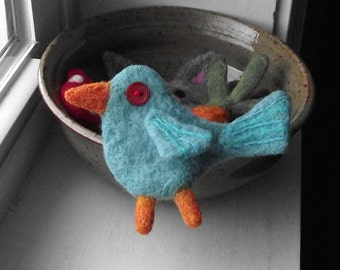 Needle Felted Brooch Pin Bluebird Boutonniere
