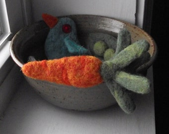 Needle Felted Brooch Pin Orange Carrot Boutonniere
