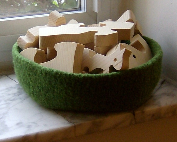 Moss Double-Wide Felted Treasure Bowl