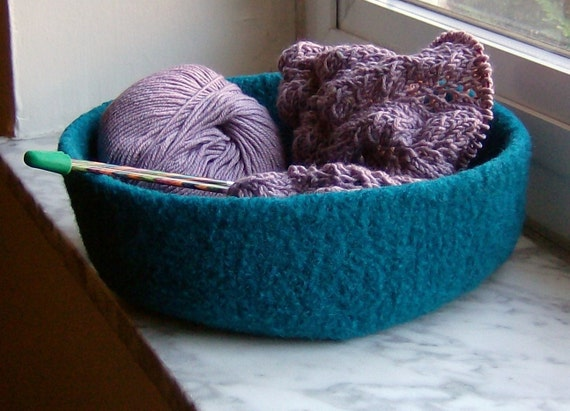 Turquoise Double-Wide Felted Treasure Bowl