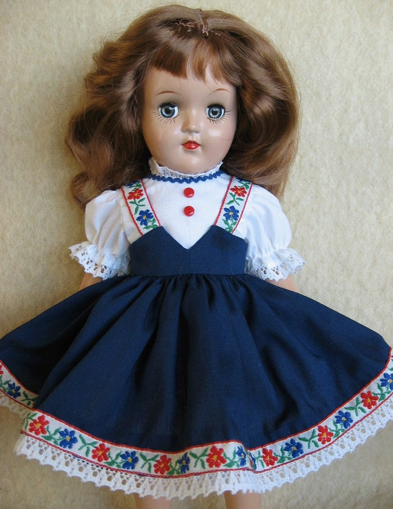 Navy Tyrolean Dress for 14 Inch P-90 Ideal TONI Doll - One of a Kind Copy of Original