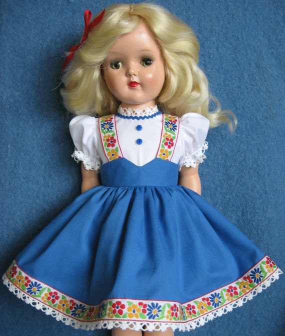 RESERVED For baby22 - Blue Tyrolean Dress For 19 inch P-92 Ideal TONI Doll