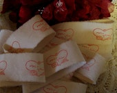 For You - Vintage Valentine Hand Stamped Ribbon Trim - with Crinkled Seam Binding 2 Yards (0198)