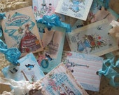 Set of 8 French Inspired Gift Tags - All Occasion - Parsian - Paris Apartment - French Market