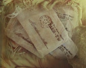 5 Parisian Style Hand Stamped Distressed Muslin Bags