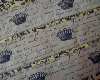 FRENCH INSPIRED -  Vintage style hand stamped ribbon trim French script Royal crown Tea dyed