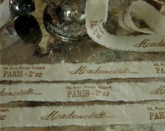 6 yards tea dyed French inspired muslin hand stamped ribbon trim -    Mademoiselle and Paris address  (0258)