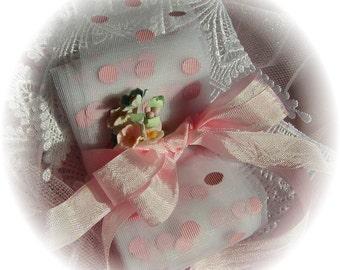 6 Yards Treasury Item - Polka Dot Ribbon White with Pink Polka Dots Netting Nylon Tulle - 029