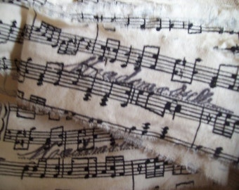 French Inspried Music - Mademoiselle - Hand Stamped Ribbon Trim - Music Notes (0175)