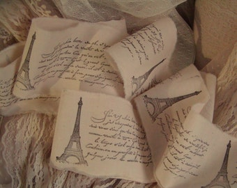 French Inspried  - Eiffel Tower -  Hand stamped trim - Natural Muslin - 4 Yards - Extra wide 3.5 inches - 046