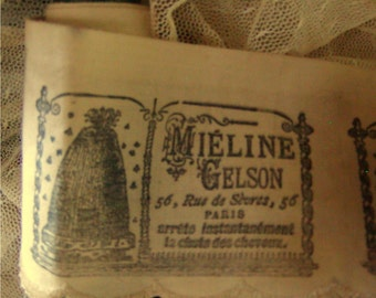 French MIELINE GELSON  PARIS Hand Stamped  Ribbon - Hand stamped trim (0118)