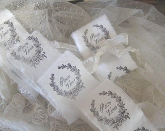 French Inspired Trim - Pour Vous Hand Stamped  Ribbon - Hand Stamped Trim - (0195)