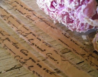 4 Yards Narrow  Distressed Muslin  - Romantic French Script -  Hand Stamped Trim
