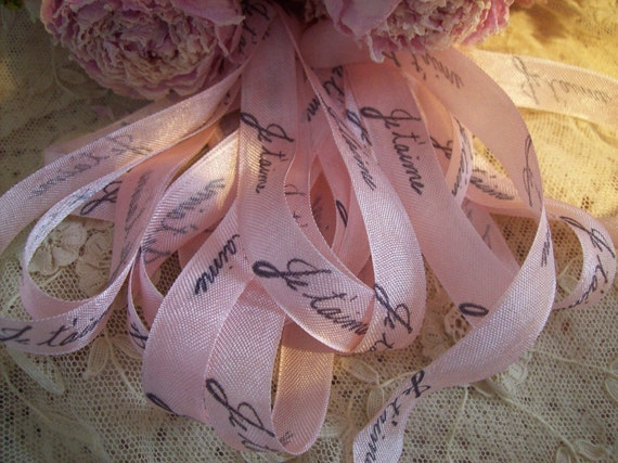 Je t'aime - French Inspired hand stamped ribbon trim - seam binding (0242)
