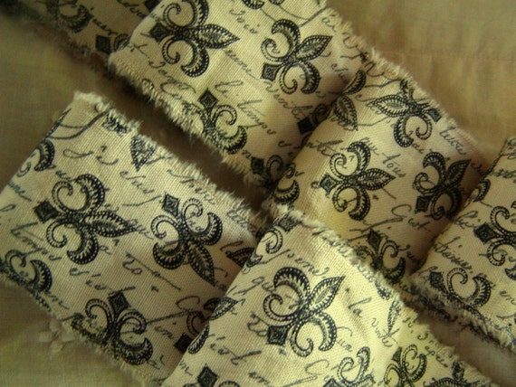 French Inspired Fleur de Lis - Hand Stamped Ribbon Trim - French Script