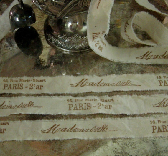 6 Yards Narrow French Inspired Tea Dyed Muslin Hand Stamped Ribbon  Trim   Mademoiselle and Paris address -  Paris Apartment 6 Yards (0269)