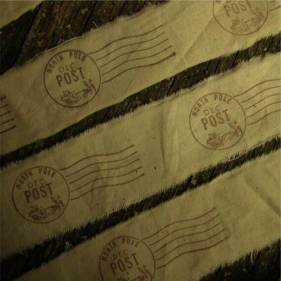 North Pole hand stamped ribbon trim 2 yards (0230)