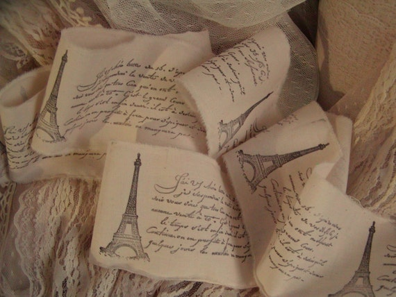 French Inspried  - Eiffel Tower -  Hand stamped trim - Natural Muslin - Extra wide 3.5 inches - 046