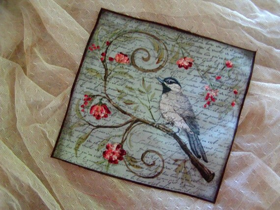 French Inspired Bird Fabric - French Script