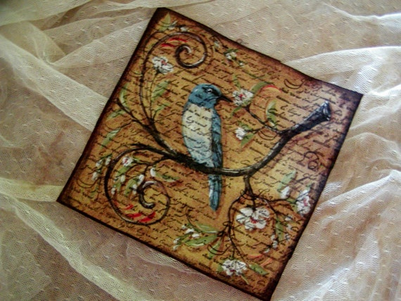 French Inspired Bird Fabric - French Script (0254)