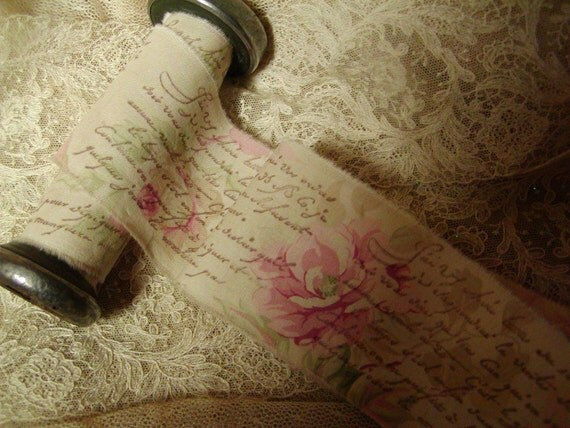 2 Yards French Romance & Roses - Hand stamped trim - Romantic French Script on Roses (0165)