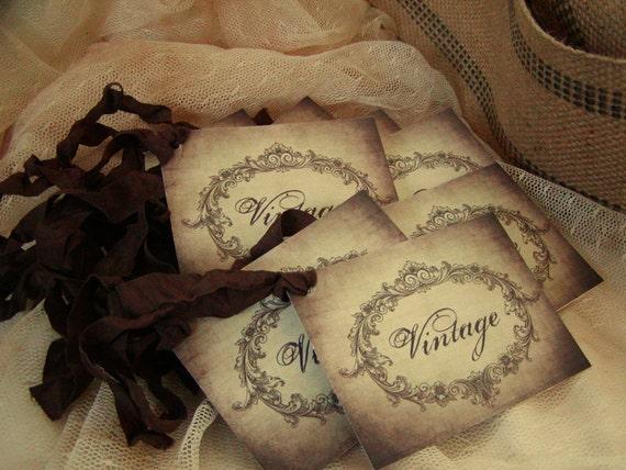 8 Vintage Gift Tags - Chocolate Brown Crinkle Seam Binding Ties (201)