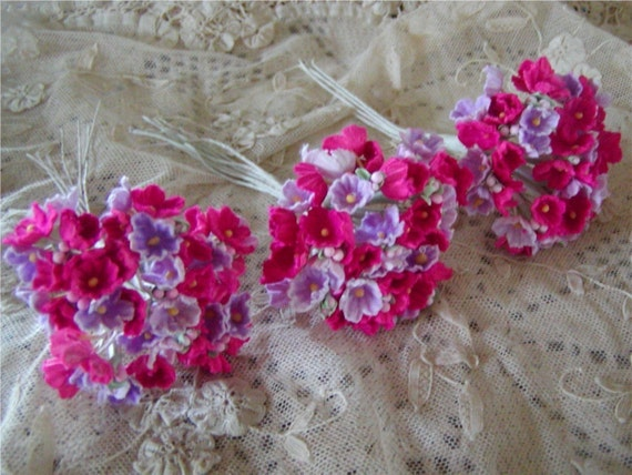 Vintage Millinery Flocked Forget Me Nots  Rose and Lavender  3 Bouquets