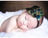Peacock Headband-Costume-newborn Peacock-Baby Headbands-Peacock Feather Headbands-Flapper Headband-Newborn Photo Props-Hair Bows