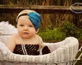 Newborn Headbands-Baby Headbands-Curled Feather-Nagorie Feather-Baby Feather Headbands-Baby Girls Headbands-Newborn Photo Prop-Aqua Headband