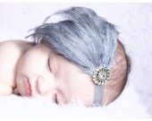 Baby Headbands-Newborn Headbands-Newborn Photo Prop-Feather Headband-Gray Feather Headband-Baby Feather Headband-Feather Fascinator-Baby