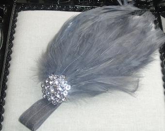 Baby Feather Headbands, Silver Gray Headbands Baby Shower, Flapper Headbands For Babies, Newborn Headband Bows