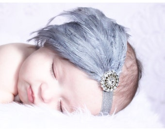 Baby Headbands-Baby Feather Headbands-Baby Girls Headbands-Newborn-Flapper Headbands-Girls Feather Headbands-Gray Feather Headbands-babygirl