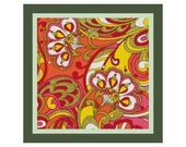 """16"""" x 16"""" Russian Floral Paisley Pillow Cover Cross Stitch Pattern  --  PDF"""