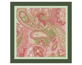 "16"" x 16"" Baby Pink Paisley Pillow Cover Cross Stitch Pattern -- PDF"