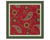 Russian Paisley Pillow Cover Cross Stitch Pattern -- PDF