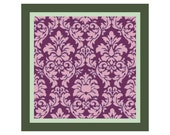 "14"" x 14"" Lavender on Purple Damask Pillow Cover Cross Stitch Pattern  -- PDF"