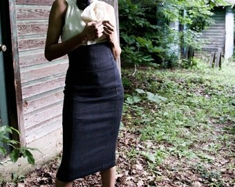 ORGANIC HEMP Hi Waist Hemp Twill Pencil SKirt, made to order