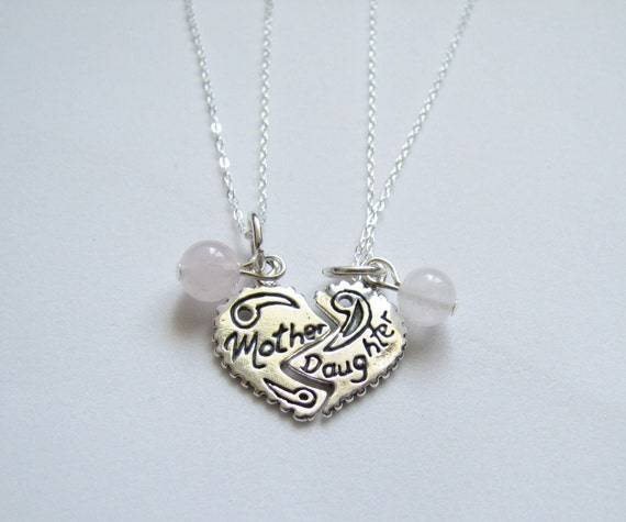 Mother Daughter Heart Charm Necklaces Sterling Silver