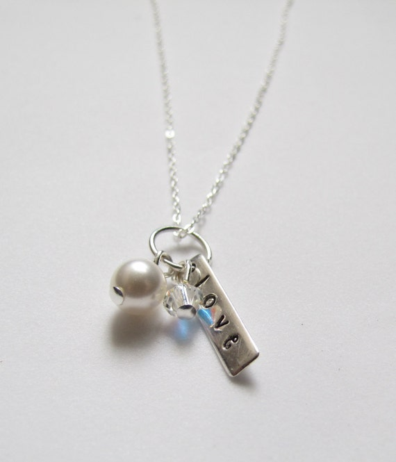 "Inspirational Jewelry Love Sterling Silver Charm Swarovski Pearl Necklace 18"""