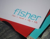 Fisher Personalized Note Card Stationary Set of 12 Custom